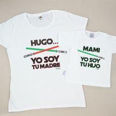 Pack 2 Camisetas Personalizadas (nombre niño) Yo soy tu Madre/Mami Yo soy tu Hijo espadas láser