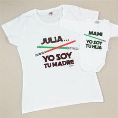 Pack 2 Camisetas Personalizadas (nombre niña) Yo soy tu Madre/Yo soy tu Hija espadas láser
