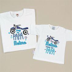 Pack 2 Camisetas Divertidas Soy un Papá Motero/Soy Motero como mi Papá