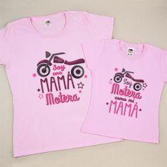 Pack 2 Camisetas Divertidas Soy una Mamá Motera/ Soy Motera como mi Mamá