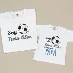 Pack 2 Camisetas Personalizadas Soy del (equipo fútbol)/ Soy del (equipo fútbol) como mi Papá