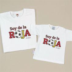 Pack 2 Camisetas Divertidas Soy de la Roja/Soy de la Roja como mi Papá (balón)