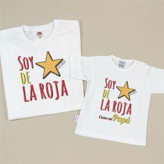 Pack 2 Camisetas Divertidas Soy de la Roja/Soy de la Roja como mi Papá (estrella)