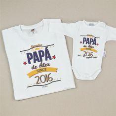 Pack 2 Camisetas Personalizadas Papá desde (año nacimiento niño)/Nombre niño