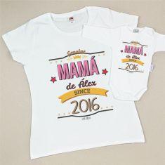 Pack 2 Camisetas Personalizadas Mamá desde (año nacimiento niño)/Nombre niño