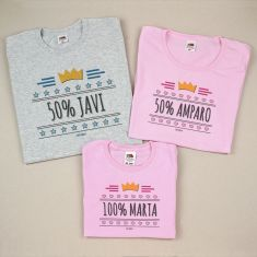 Pack 3 Camisetas Personalizadas 50% (nombre mamá), 50% (nombre papá), 100% (nombre niño)