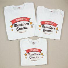 Pack 3 Camisetas Personalizadas Equipo (apellido familia)