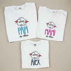 Pack 3 Camisetas Divertidas Súper Papi de / Súper Mami de / Súper (nombre hijo)