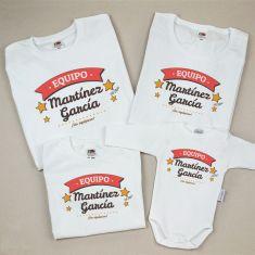 Pack 4 Camisetas Personalizadas Equipo (apellido familia)