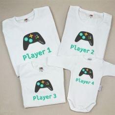 Pack 4 Camisetas Divertidas Player 1/ Player 2/ Player 3/ Player 4