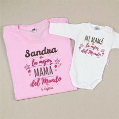 Pack 2 Prendas Mamá (Nombre) es la mejor Mamá del Mundo / Mi Mamá es la Mejor del Mundo