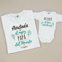 Pack Camiseta (Nombre) es el mejor Papá del Mundo + Body Mi Papá es el Mejor del Mundo