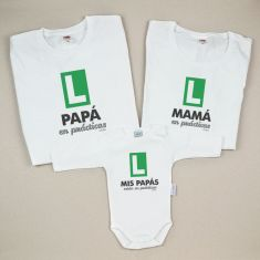 Pack 3 Camisetas Divertidas Papá en Prácticas /Mamá en Prácticas / Mis Papás están en prácticas