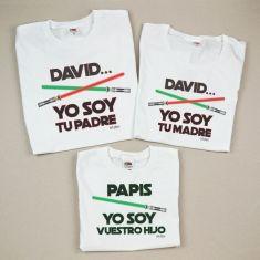 Pack 3 Camisetas Divertidas (Nombre niño) Yo soy tu Padre / (Nombre niño) Yo soy tu Madre / Papis yo soy vuestro Hijo