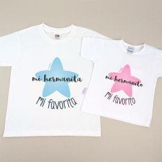 Pack 2 Camisetas Divertidas Mi hermanita Mi favorita / Mi hermanito Mi favorito