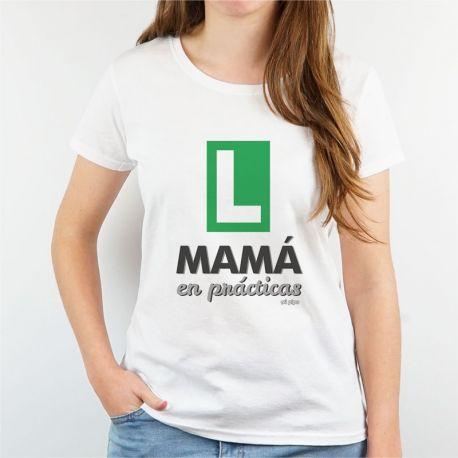 Camiseta Divertida Mamá en prácticas verde