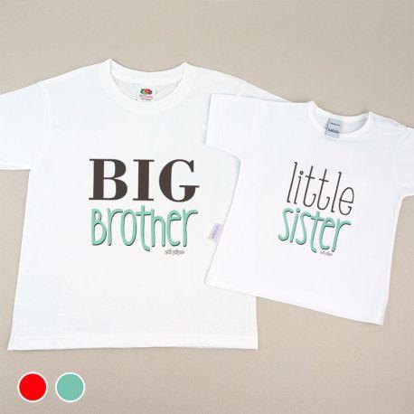 Pack 2 Camisetas Divertidas Niño/Niña y Bebé Big brother / Little sister Menta