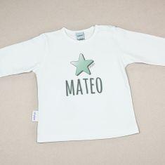Camiseta Personalizada Bebé Nombre + Estrella Menta