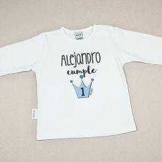 Camiseta o Sudadera Bebé y Niño/a Personalizada Cumpleaños Corona Azul