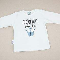 Camiseta Personalizada Bebé Corona Azul Cumpleaños