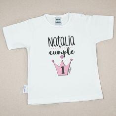 Camiseta Personalizada Bebé Corona Rosa Cumpleaños