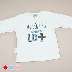 Camiseta Divertida Bebé Mi Tía y Yo somos lo + Rojo, Azul o Rosa