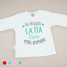 Camiseta Divertida Bebé Ha llegado la tía, mamá, ¡estás despedida! Rojo, Menta, Azul o Rosa