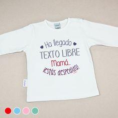 Camiseta Divertida Bebé Ha llegado (texto libre), mamá, ¡estás despedida! Rojo, Menta, Azul o Rosa