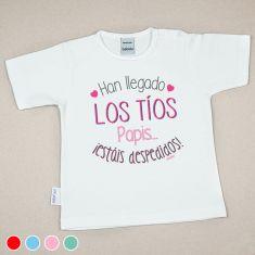 Camiseta Divertida Bebé Han llegado los Tíos, Papis...¡estáis despedidos! Rojo, Menta, Azul o Rosa