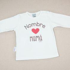Camiseta Divertida Bebé Nombre corazón Mamá