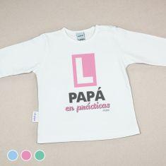 Camiseta Divertida Bebé Papá en prácticas Menta, Azul o Rosa