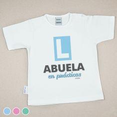 Camiseta Divertida Bebé Abuela en Prácticas Menta, Azul o Rosa