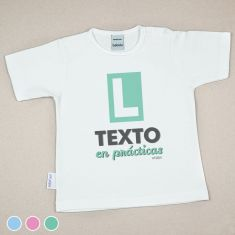 Camiseta Divertida Bebé (texto libre) en prácticas Menta, Azul o Rosa