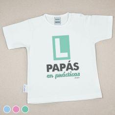 Camiseta Divertida Bebé Papás en Prácticas Menta, Azul o Rosa