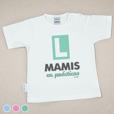 Camiseta Divertida Bebé Mamis en Prácticas Menta, Azul o Rosa