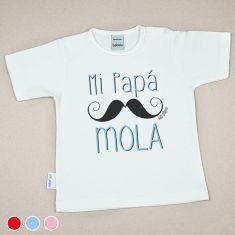 Camiseta Divertida Bebé Mi Papá mola bigote Rojo, Azul o Rosa