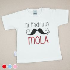 Camiseta Divertida Bebé Mi Padrino mola bigote Rojo, Azul o Rosa