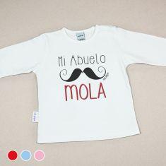 Camiseta Divertida Bebé Mi Abuelo Mola bigote Rojo, Azul o Rosa