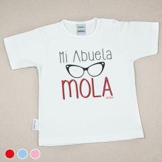 Camiseta Divertida Bebé Mi Abuela Mola gafas Rojo, Azul o Rosa