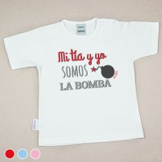 Camiseta Divertida Bebé Mi Tía y Yo somos la bomba Rojo, Azul o Rosa