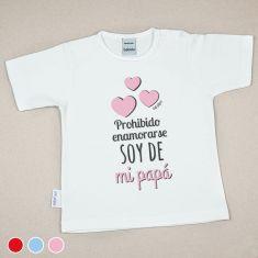 Camiseta Divertida Bebé Prohibido enamorarse, soy de mi Papá Rojo, Azul o Rosa