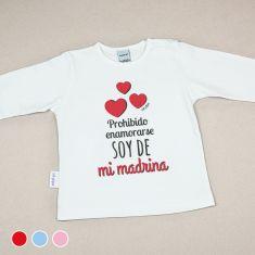 Camiseta Divertida Bebé Prohibido enamorarse, soy de mi Madrina Rojo, Azul o Rosa