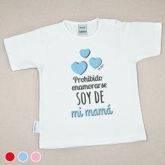 Camiseta Divertida Bebé Prohibido enamorarse, soy de mi Mamá Rojo, Azul o Rosa