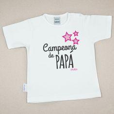 Camiseta Divertida Bebé Campeona de Papá