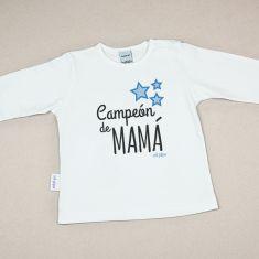 Camiseta Divertida Bebé Campeón de Mamá
