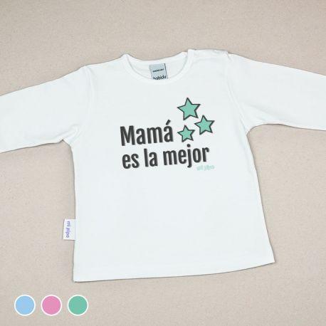 Camiseta Divertida Bebé Mamá es la mejor Menta, Azul o Rosa
