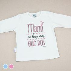 Camiseta Divertida Bebé Mami no hay más que dos Azul o Rosa