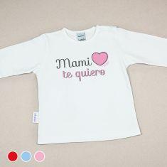 Camiseta Divertida Bebé Mami Te Quiero Rojo, Azul o Rosa