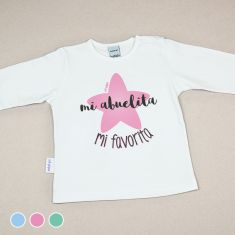 Camiseta Divertida Bebé Mi Abuelita mi Favorita Menta, Azul o Rosa