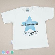 Camiseta Divertida Bebé Mi Hermanito Mi favorito Menta, Azul o Rosa